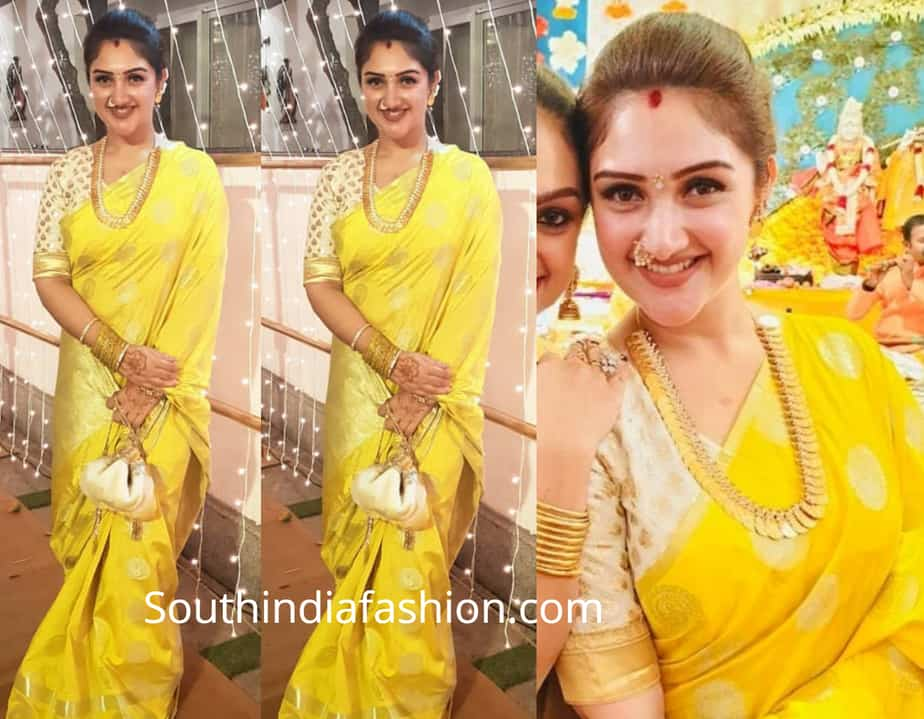sridevi vijay kumar in yellow silk saree at soundarya rajinikanth wedding engagement
