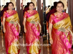 suhasini maniratnam kanjivaram saree at soundarya rajinikanth wedding