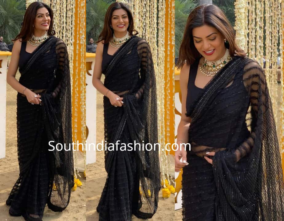 sushmita sen in black saree at a wedding