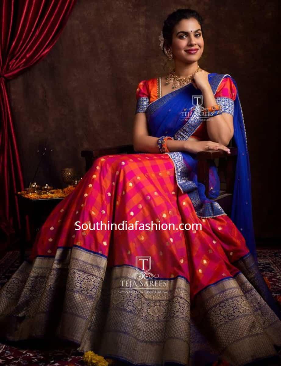 sravana bhargavi in pattu half sarees