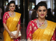 vanadana srikanth in yellow silk saree at soundarya rajinikanth wedding