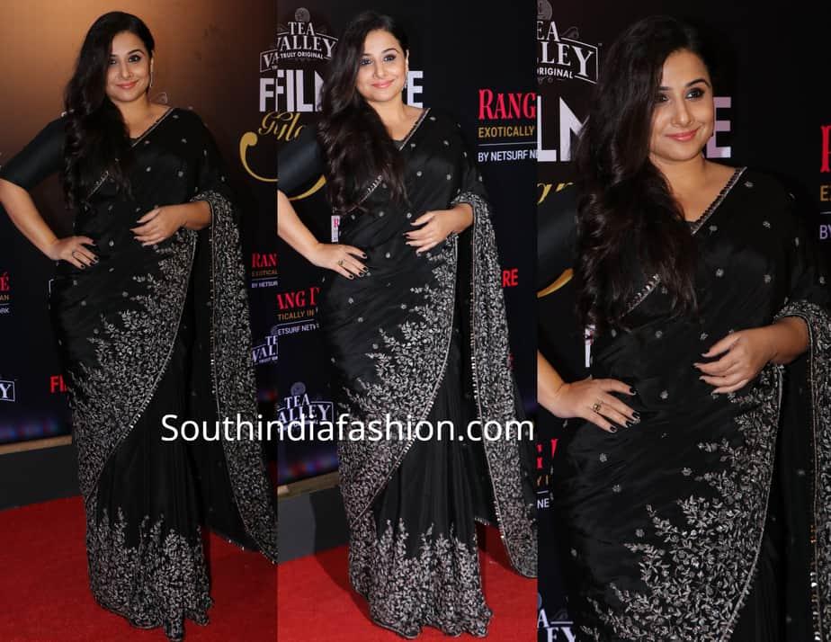 vidya balan in black saree at filmfare glamour and style awards