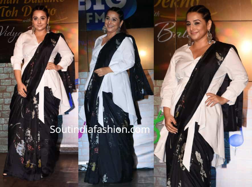 vidya balan black saree with white jacket