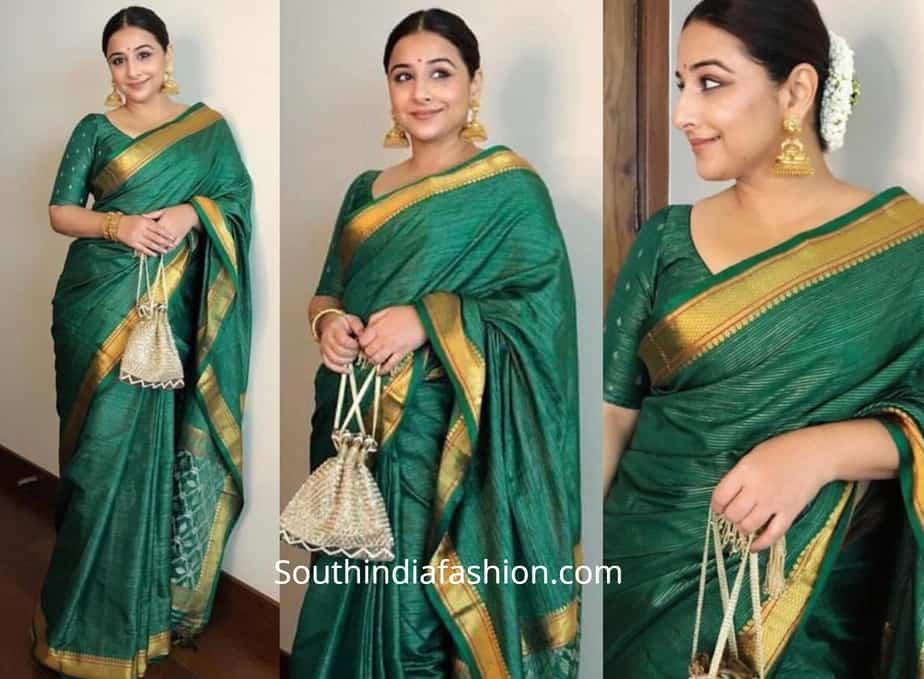 vidya balan in green saree