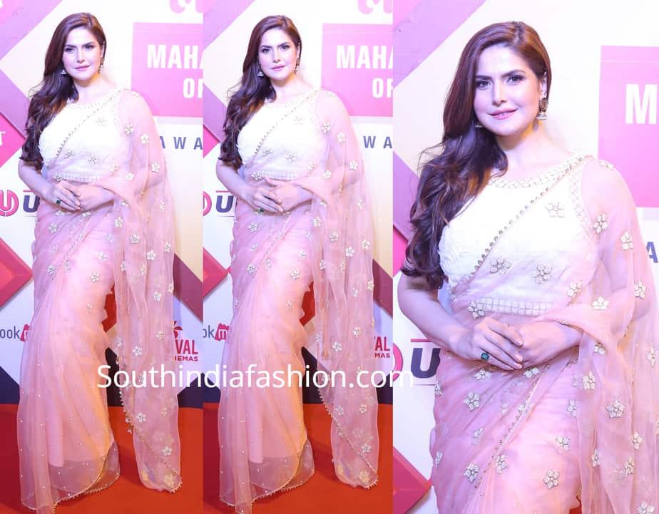zareen khan saree at lokmat awards