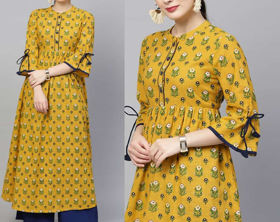 three quarter length sleeves kurti design