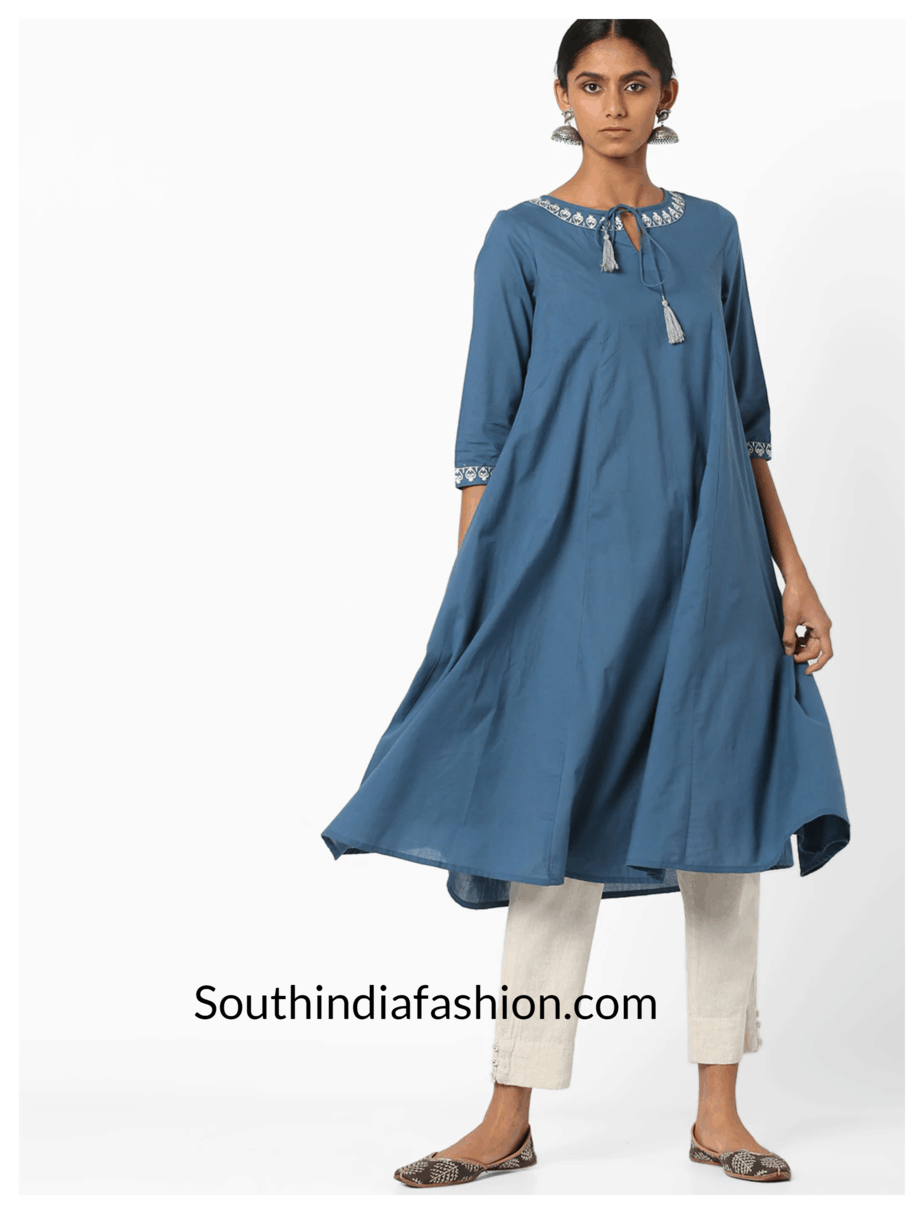 Embroidered-Flared-Kurta-with-Tie-Up