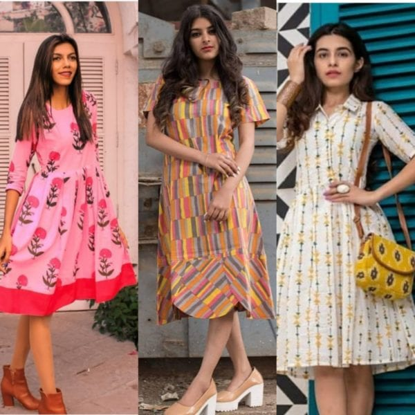 indo western midi dresses for college girls