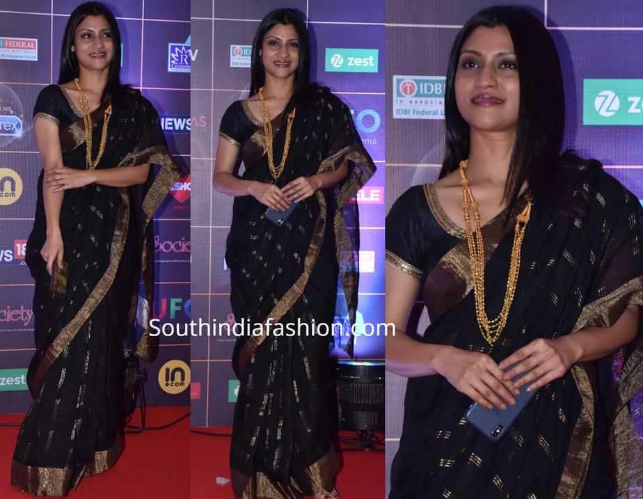 Konkona Sen Sharma black saree news 18 reel awards