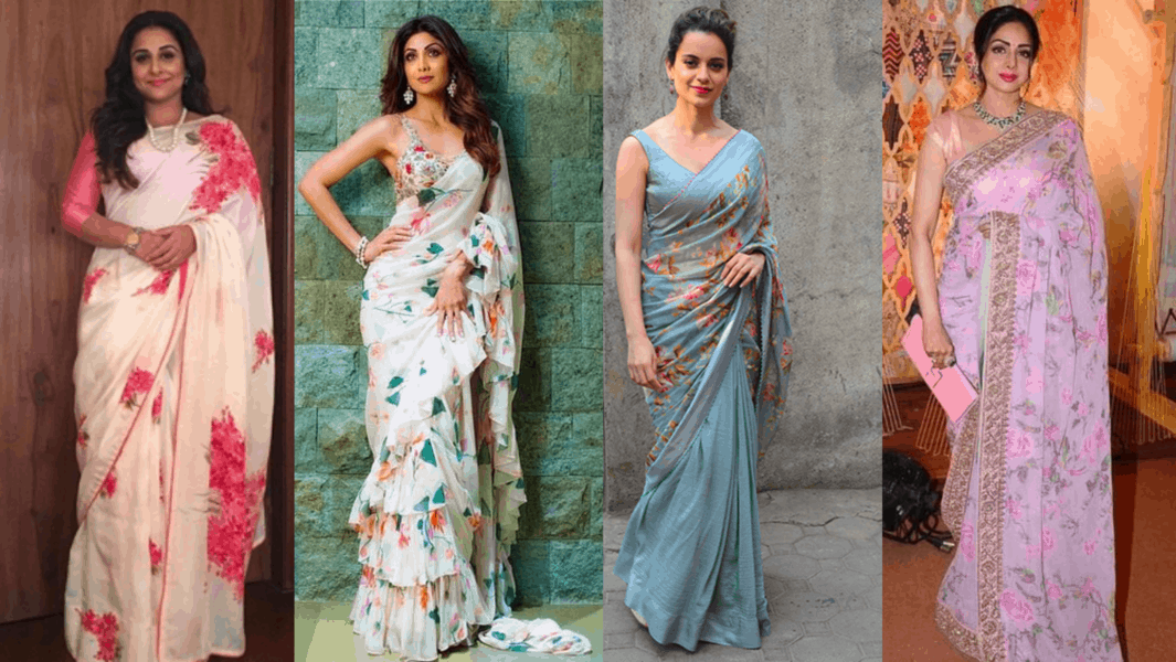 actresses in pastel floral print sarees