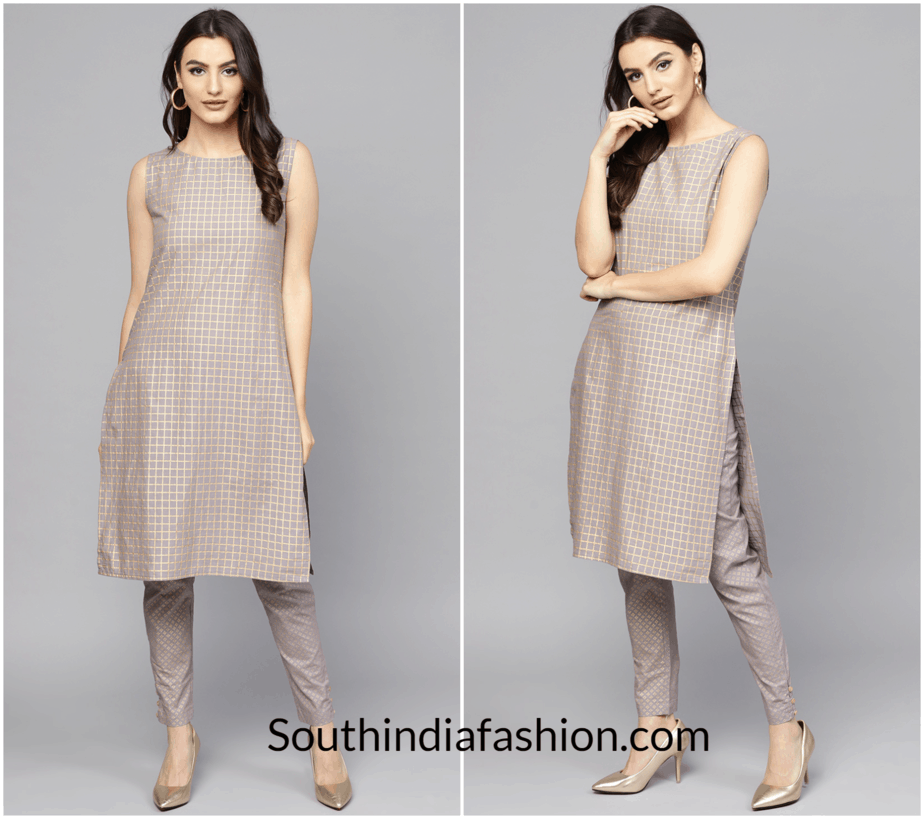Women-Grey-Golden-Printed-Kurta-with-Trousers