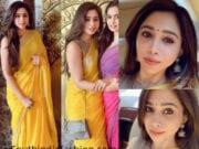 aarti ravi in yellow linen saree