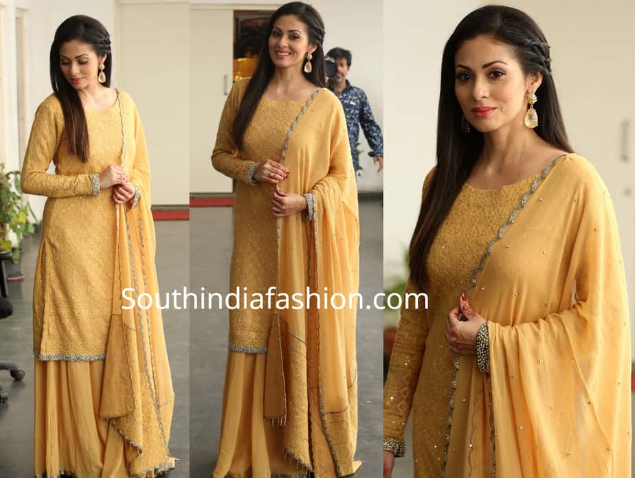 sada in yellow palazzo suit at kitty party first look launch event