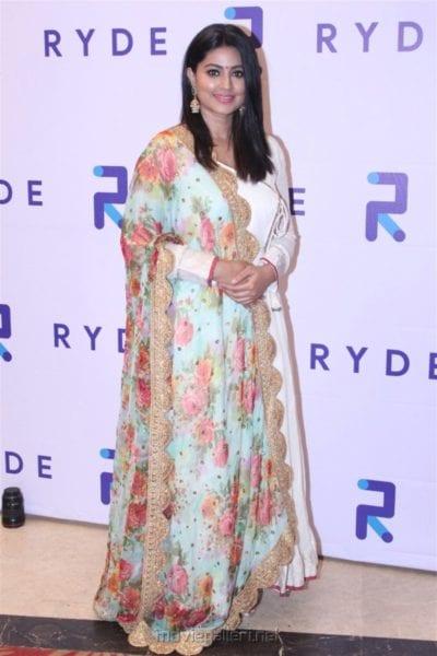 Actress Sneha white churidaar with floral dupatta