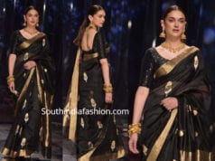 aditi rao hydari black saree lotus india fashion week