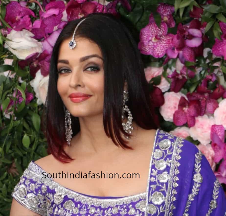 aishwarya rai purple lehenga at akash ambani shloka mehta wedding