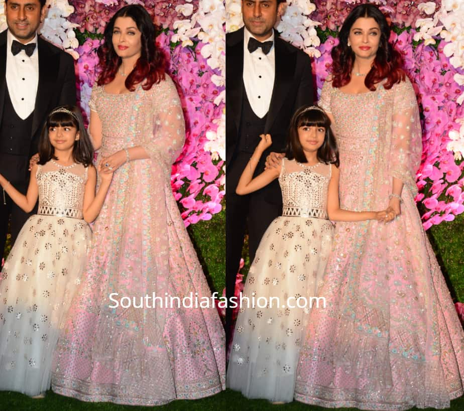aishwarya in pink lehenga and aaradhya in white gown at akash ambani reception