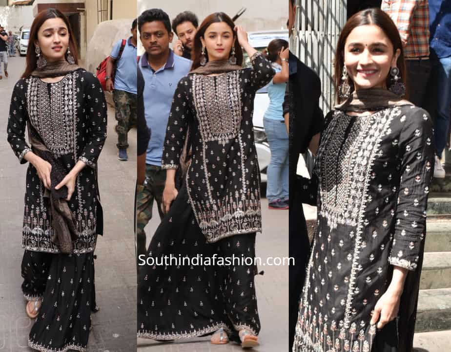 alia bhatt black sharara suit at kalank song launch