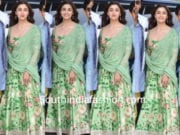 alia bhatt in anushree reddy green anarkali for brahmastra logo launch kumbh mela
