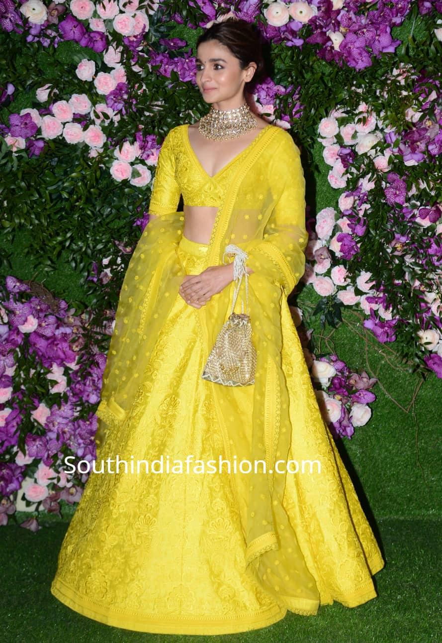 alia bhatt in yellow lehenga at akash ambani shloka mehta wedding