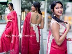 amala paul pink cotton saree with bow back blouse