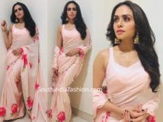 amruta khanvilkar pink saree