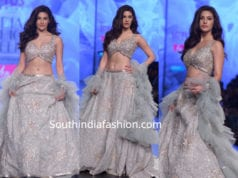 amyra dastur in ashwini reddy lehenga at lotus india fashion week