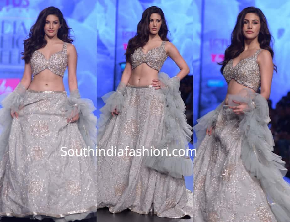 amyra dastur in ashwini reddy lehenga at lotus india fashion week