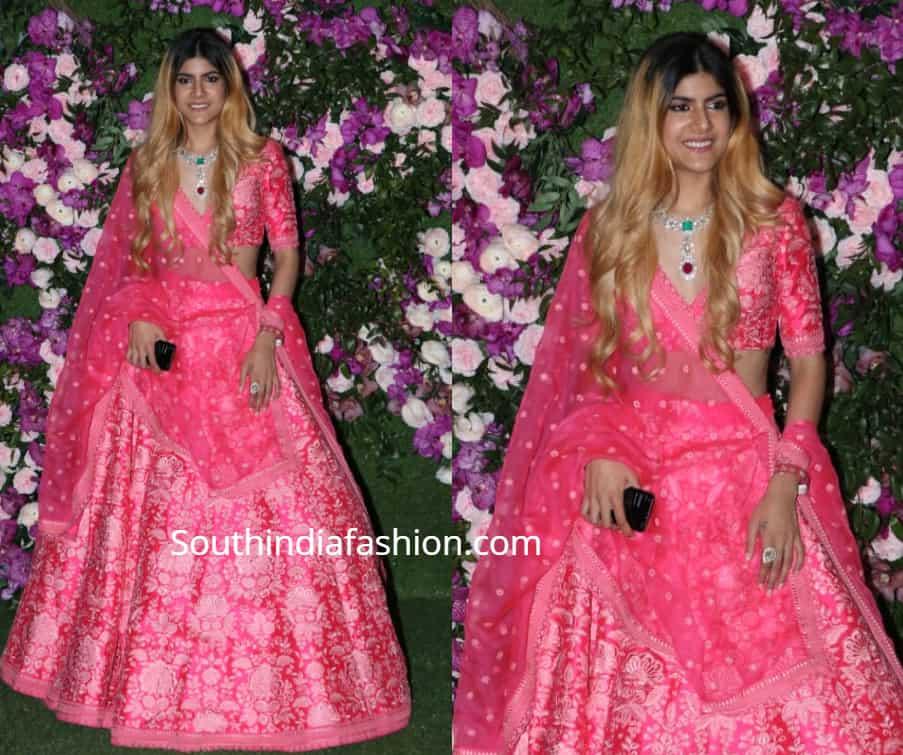 ananya birla in pink lehenga at akash ambani wedding
