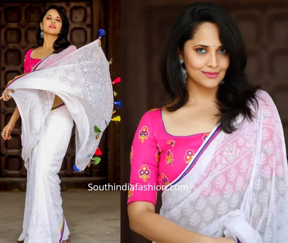 anchor anasuya white saree pink blouse holi