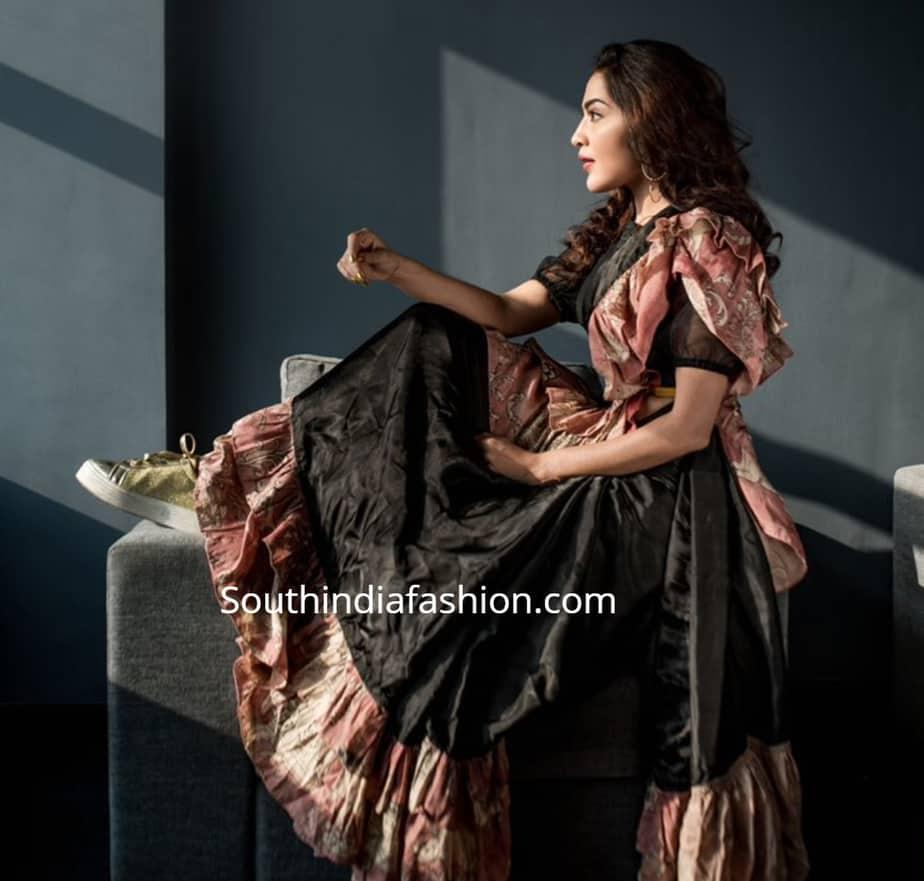 anchor ramya black ruffle saree