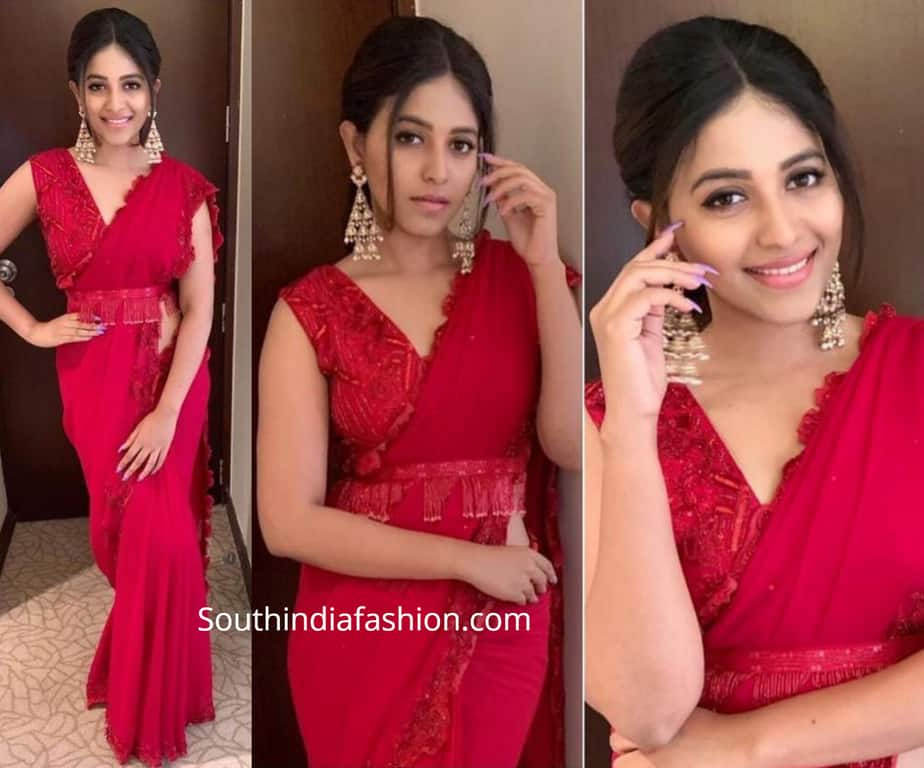 anjali red saree issa studio
