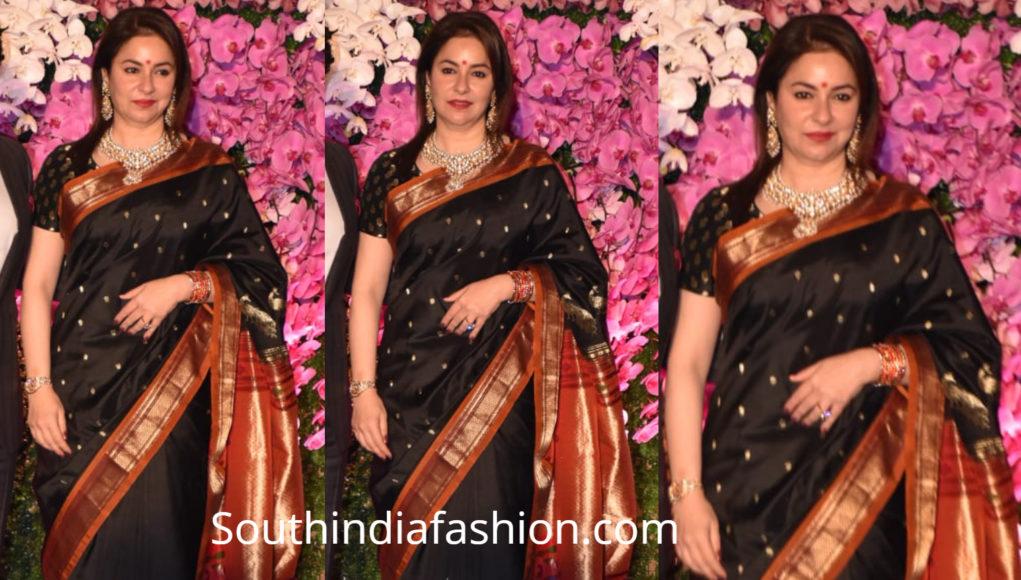 anjali tendulkar in black paithani saree at akash ambani wedding reception