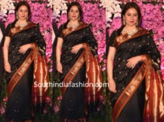anjali tendulkar in black paithani saree at akash ambani wedding reception