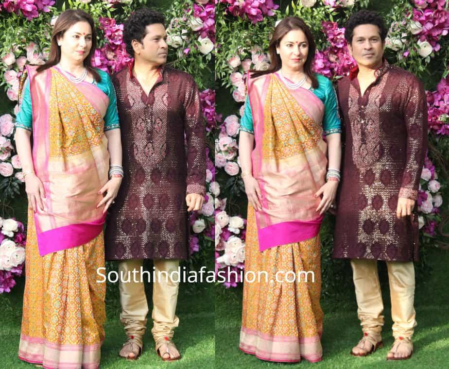 sachin tendulkar and anjali at akash ambani wedding