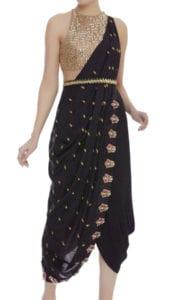 black dhoti saree