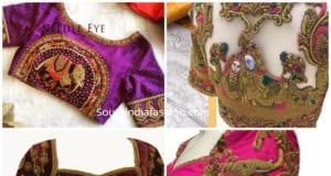 bridal maggam work blouse designs silk sarees