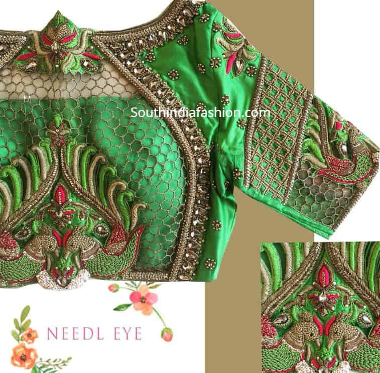 cut work blouse for silk sarees