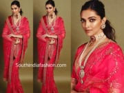 deepika padukone in red sabyasachi saree at akash ambani wedding