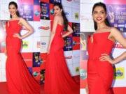 deepika padukone at zee cine awards red gown