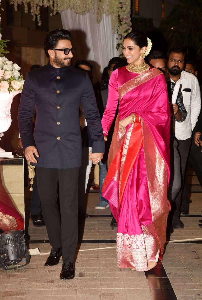 deepika padukone in pink silk saree