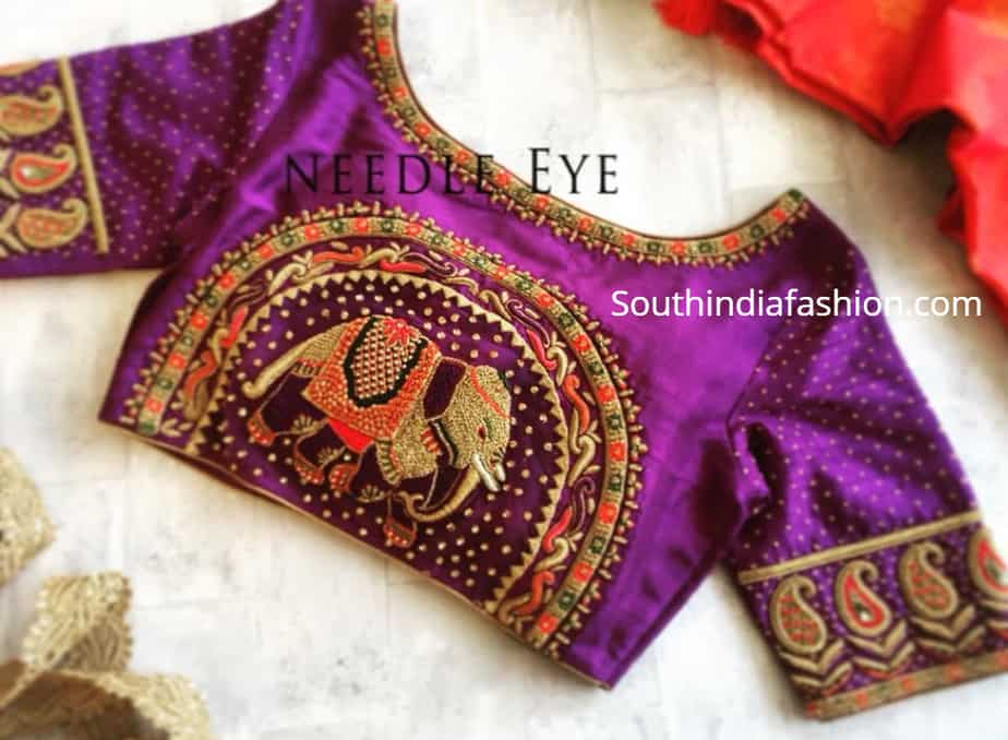 elephant embroidery blouse