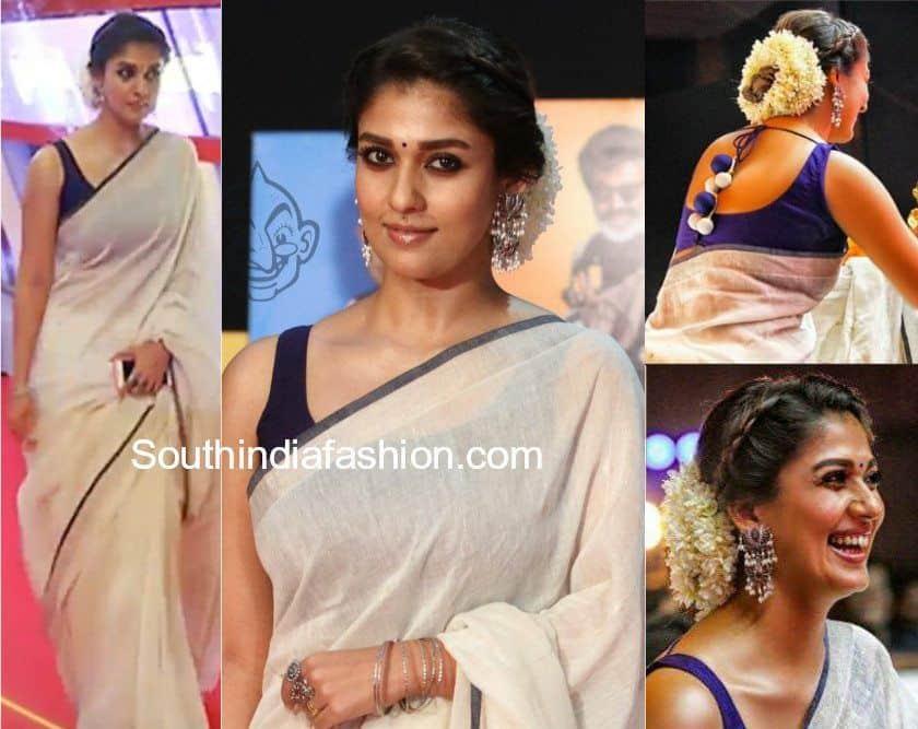 nayanthara white saree silver earrings