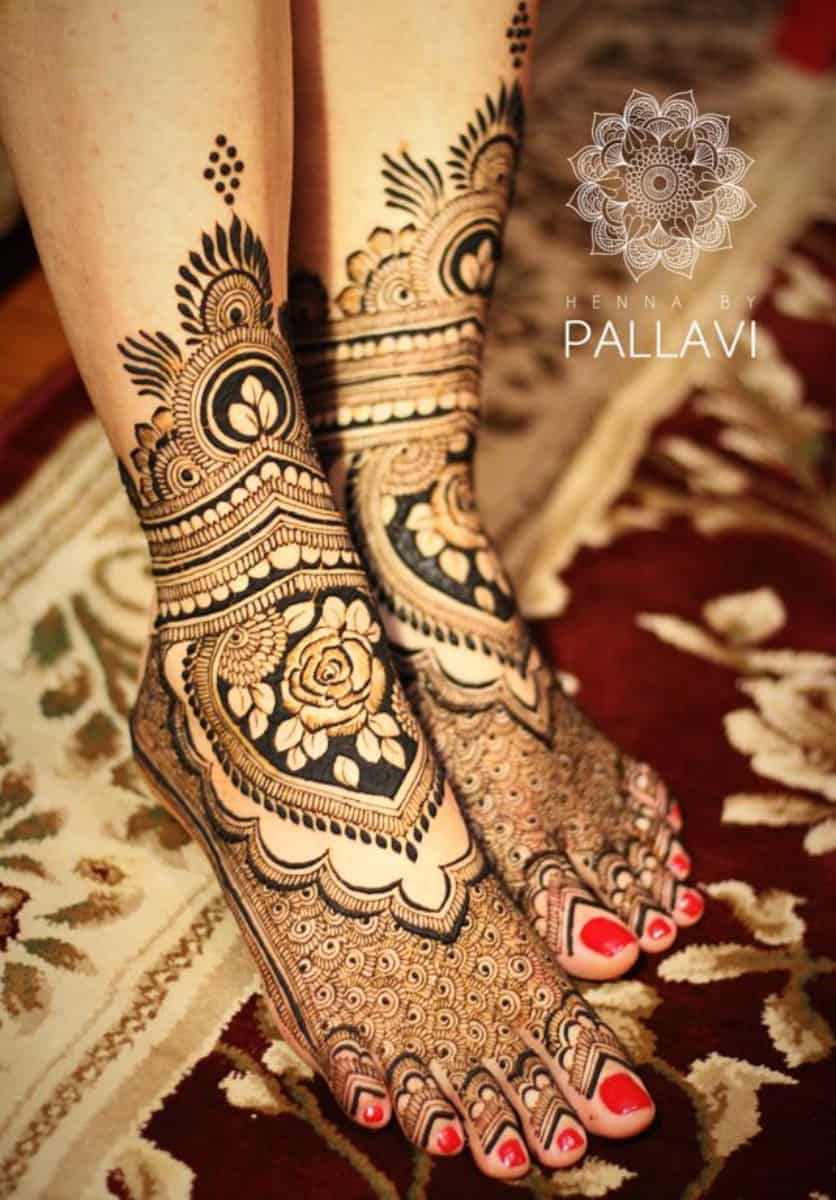 indian bridal mehndi dezine for legs
