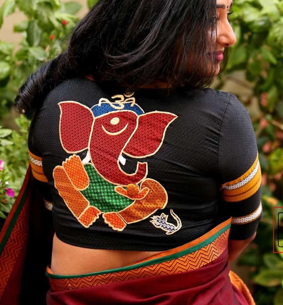 lord ganesh design saree blouse