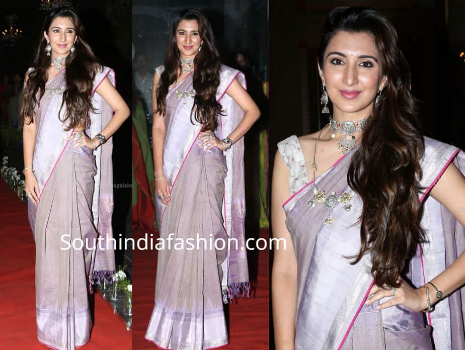 gulnar virk saree with silver jewelry