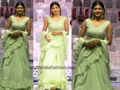 hebah patel in green ruffle saree