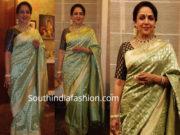hema malini in green banaras saree at akash ambani wedding