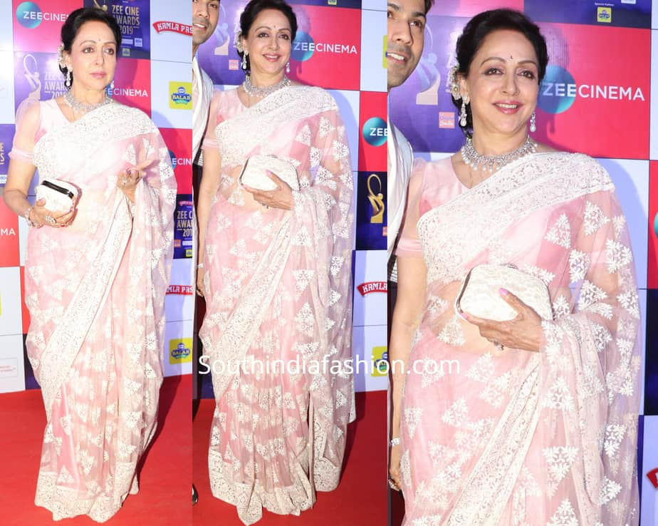 hema malini saree at zee cine awards 2019