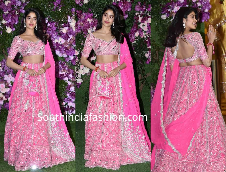 jahnvi kapoor in pink lehenga at akash ambani shloka mehta wedding